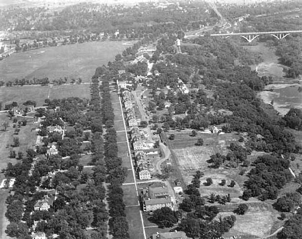 Aerial view of Taylor Avenue looking NE towards St Paul Mendota Bridge in the upper right and polo grounds in the upper left